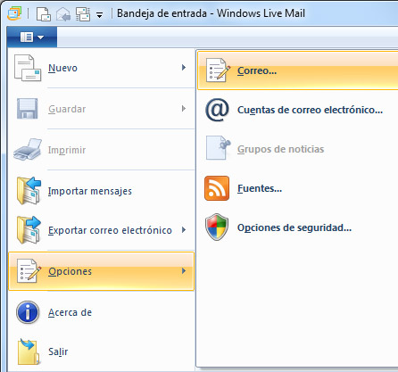 Configuración de correo